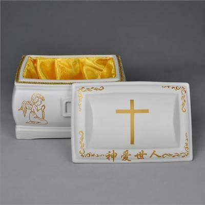 Ceramic Christian Cross Casket Box
