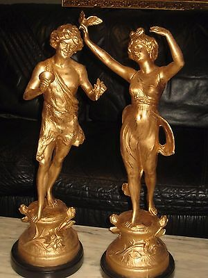 1890's French Gilt Bronze/spelter Large Statues-Magnificent
