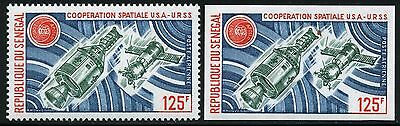 Space Raumfahrt 1975 Senegal Apollo Soyuz Sojus 566 A + U Perf Imperf/1207