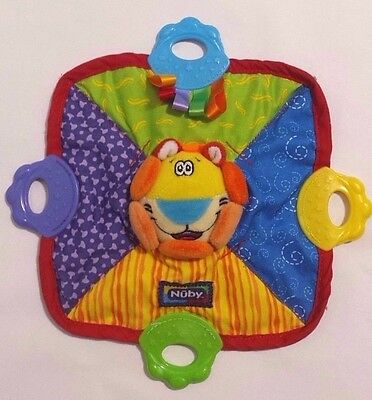 Nuby Teether Baby Security Blanket Lovey Lion Toy EUC Squeaks, Scrunches 7.75""