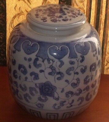 Vintage Chinese Blue And White Ginger Jar