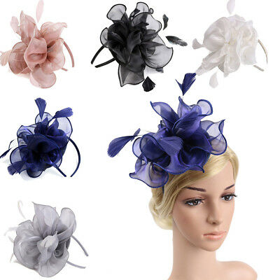 Ladies Feather Fascinator Hat Floral Wedding Party Hair Band Accessory Headdress