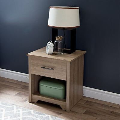 South Shore Fusion 1-Drawer Night Stand, Rustic Oak