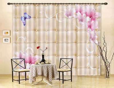 Artistic Pink Lily 3D Curtain Blockout Photo Print Curtains Drape Fabric Window