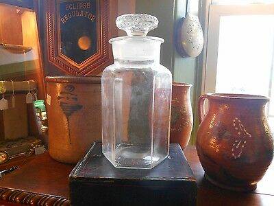 Antique Apothecary Drug Store Candy Jar with Lid Clear w Ground Lid Early glass