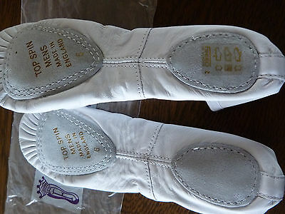 New Boys /  Mens white split sole leather ballet/dance  shoes by Freed of London