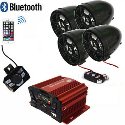 *Bluetooth Motorcycle Handlebar Audio Amplifier Stereo Speaker System MP3 USB/SD
