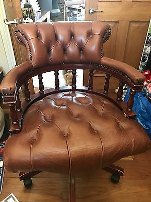 Brown leather reproduction office chair