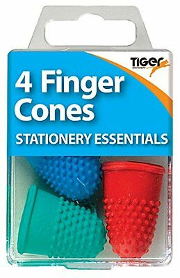 4 FINGER CONES Thimblettes Rubber Thimble Coloured Page Turning Stationery UK