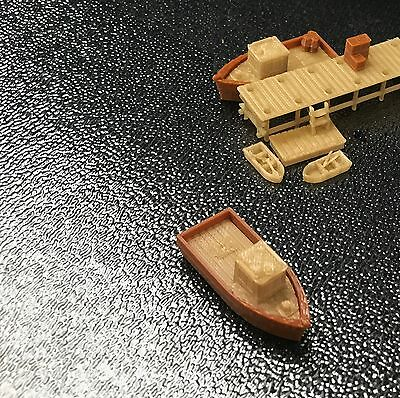 Outland Models Railroad Scenery Boat Set with Small Dock / Pier Z Scale 1:220