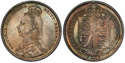 GREAT BRITAIN. Victoria 1890 AR Shilling. PCGS MS67 S3927 Superbly toned.