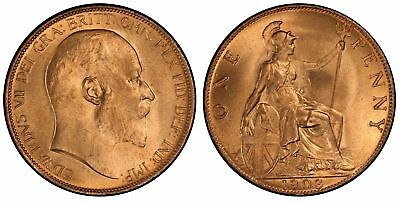 GREAT BRITAIN. Edward VII. 1903 AE Penny. PCGS MS65+RD High sea level S3990.