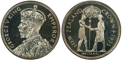 NEW ZEALAND George V 1935 AR Crown PCGS PR63 Treaty of Waitangi Flashy surfaces