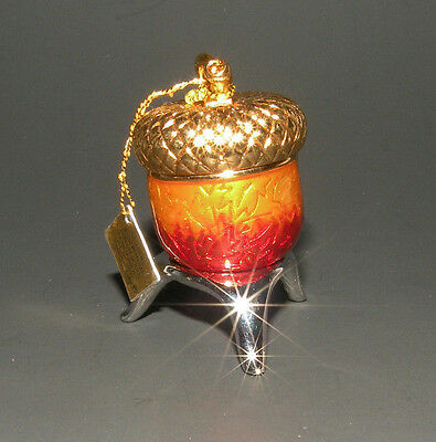 Estee Lauder Solid Perfume Compact 2004 ACORN AMULET & STAND empty
