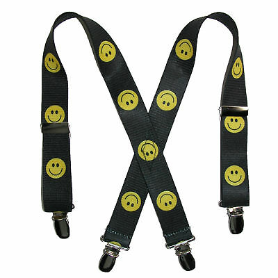 New CTM Infant Elastic 1 Inch Wide Clip-End Smiley Face Pattern Suspenders