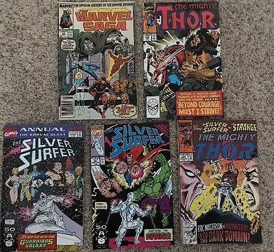 Lot of 5 Marvel Comics feat. Thor, Defenders, Silver Surfer, Fantastic Four