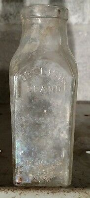 Obelisk Brand Pickles NY Glass Bottle