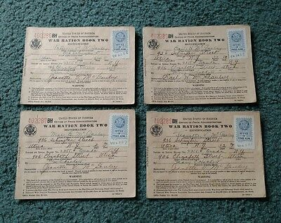 Vintage World War 2, Set of 4 War Ration Paper Books, Book #2