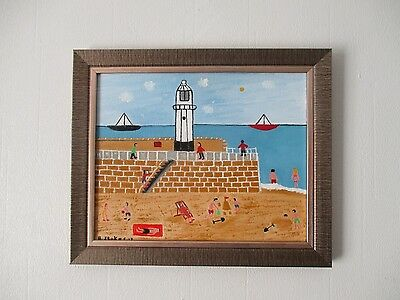 oil painting of St Ives Lighthouse northern art by barry stokes