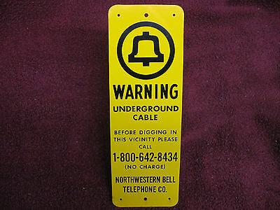 L@@K Reduced--Vintage Telephone Co Underground Cable Warning Sign