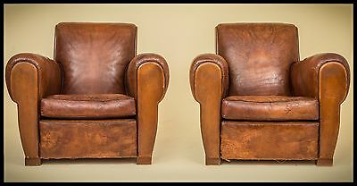 """Very rare French Art Deco Leather French Club Chairs 1930s,"""" SAINT-TROPEZ."""""""