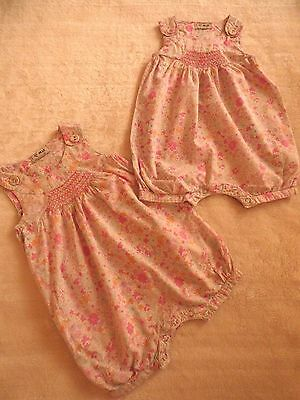2 Next Baby Girls Age 6-9 Months Cute Summer Pink floral  Playsuit / Romper