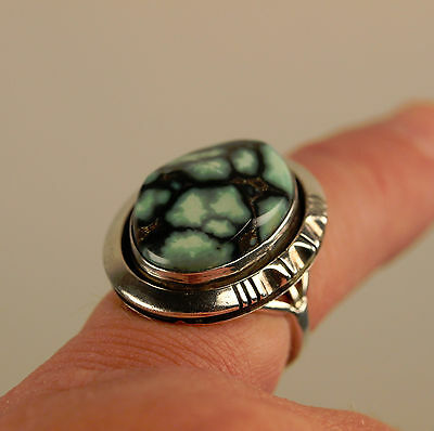 Navajo WJ JOHNSON Green Turquoise  Sterling Silver  Ring