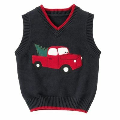 Gymboree Snow Chillin' Truck Sweater Vest New NWT Boys 12 18 M Red pine tree