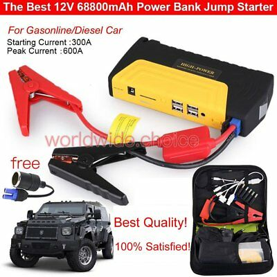 68800mAh 3LED Car Jump Starter Emergency Charger Booster Power Bank Battery SOS