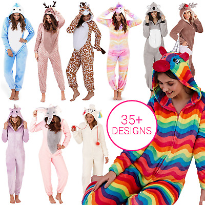 Womens Girls 3D Character Animal All in One Fleece Jumpsuit Pyjamas Costume