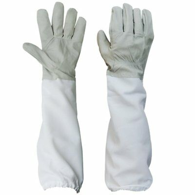 Beekeeping Bee Gloves - Soft Goats Leather with Cotton Gauntlets White & Grey UK