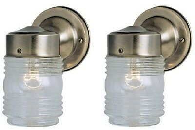 (2) Westinghouse 66839 Antique Brass Single Lamp Jelly Jar Wall Light Fixtures