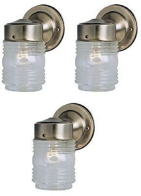 (3) Westinghouse 66839 Antique Brass Single Lamp Jelly Jar Wall Light Fixtures