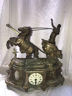 GERMAN WITH HORSES DRAWN CHARIOT BRASS very Heavy Franz Hermle