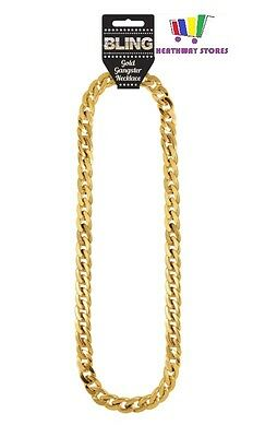 Chunky Gold Gangster Necklace Fancy Dress Rapper 70S Pimp Mens Jewellery Party