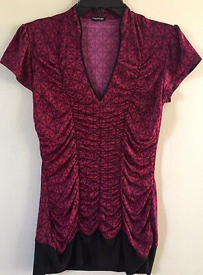 Ladies Women's size small S Maurice's red & black top shirt blouse