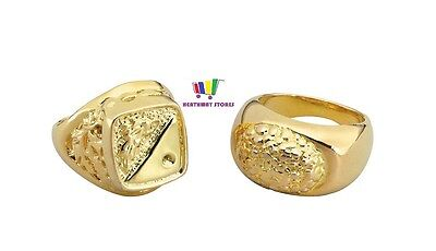 2 x CHUNKY GOLD RINGS GANGSTER FANCY DRESS RAPPER 70S PIMP MENS SOVEREIGN PARTY