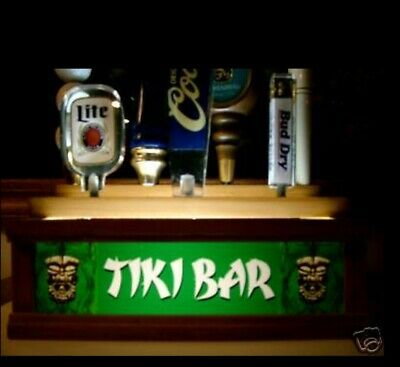 LIGHTED 7 TAP < TIKI BAR >  beer Tap handle stand  2 LEVELS OF DISPLAY