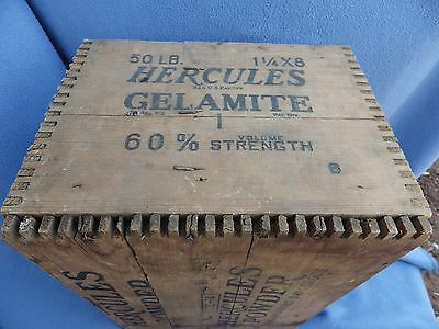 HERCULES POWDER-HIGH EXPLOSIVES WOODEN CRATE Sides + Bottom Labelled