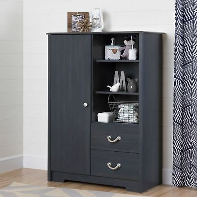 South Shore Furniture Aviron Armoire with Drawers, Blueberry