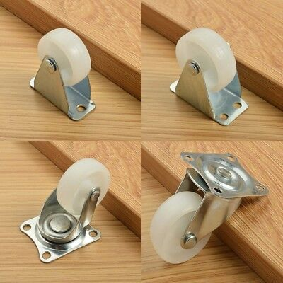 "White Nylon 1/1.25/1.5/2"" Plastic Wheel Rectangle Top Plate Fixed Swivel Casters"
