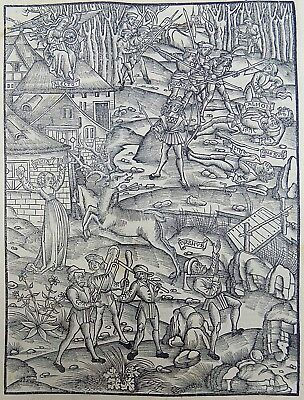 1502 BRANDT INCUNABULA Woodcut SUPEB DEPICTION OF THE SIEGE OF TROY