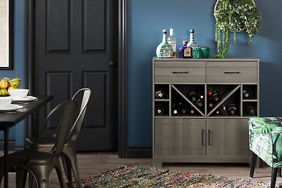 South Shore Furniture Vietti Bar Cabinet with Bottle Storage and Drawers