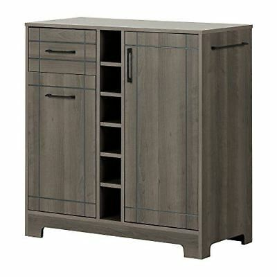 South Shore Furniture Vietti Bar Cabinet with Bottle and Glass Storage