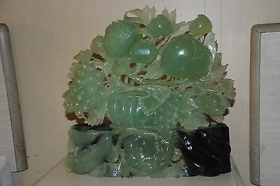 """Jade Hand Carved Fruit Statue Large 16""""x16"""""""