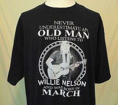 Willie Nelson Born In March T-Shirt Men's size 3XL