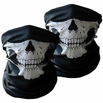 2Pk Black Seamless Skull Face Tube Mask for Halloween Party Outdoor Cycling