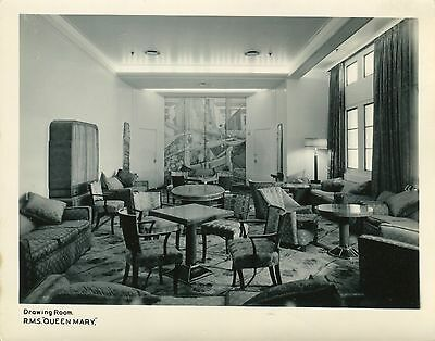 """RMS QUEEN MARY """"Drawing Room"""".  Original vintage ship's photograph. Cunard-White"""