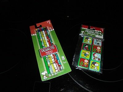 New Peanuts Christmas Pencils And Erasers Set!!!!