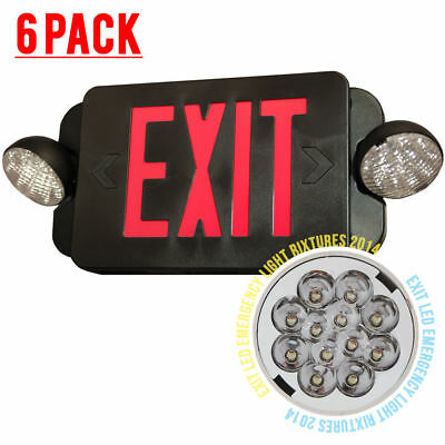 6pack LED Exit Sign & Emergency Light – RED Compact Combo UL924 EL2BR Black body